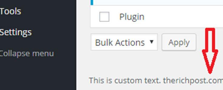 Changer le texte de bas de page du Tableau de bord WordPress